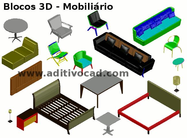 Blocos Cad Dwg Mobili Rio Em 3d Para Autocad Download