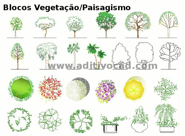 Blocos Cad Dwg Vegetacoes Paisagismo Para Autocad Download