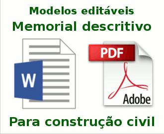 Memorial Descritivo Modelos Prontos Editáveis